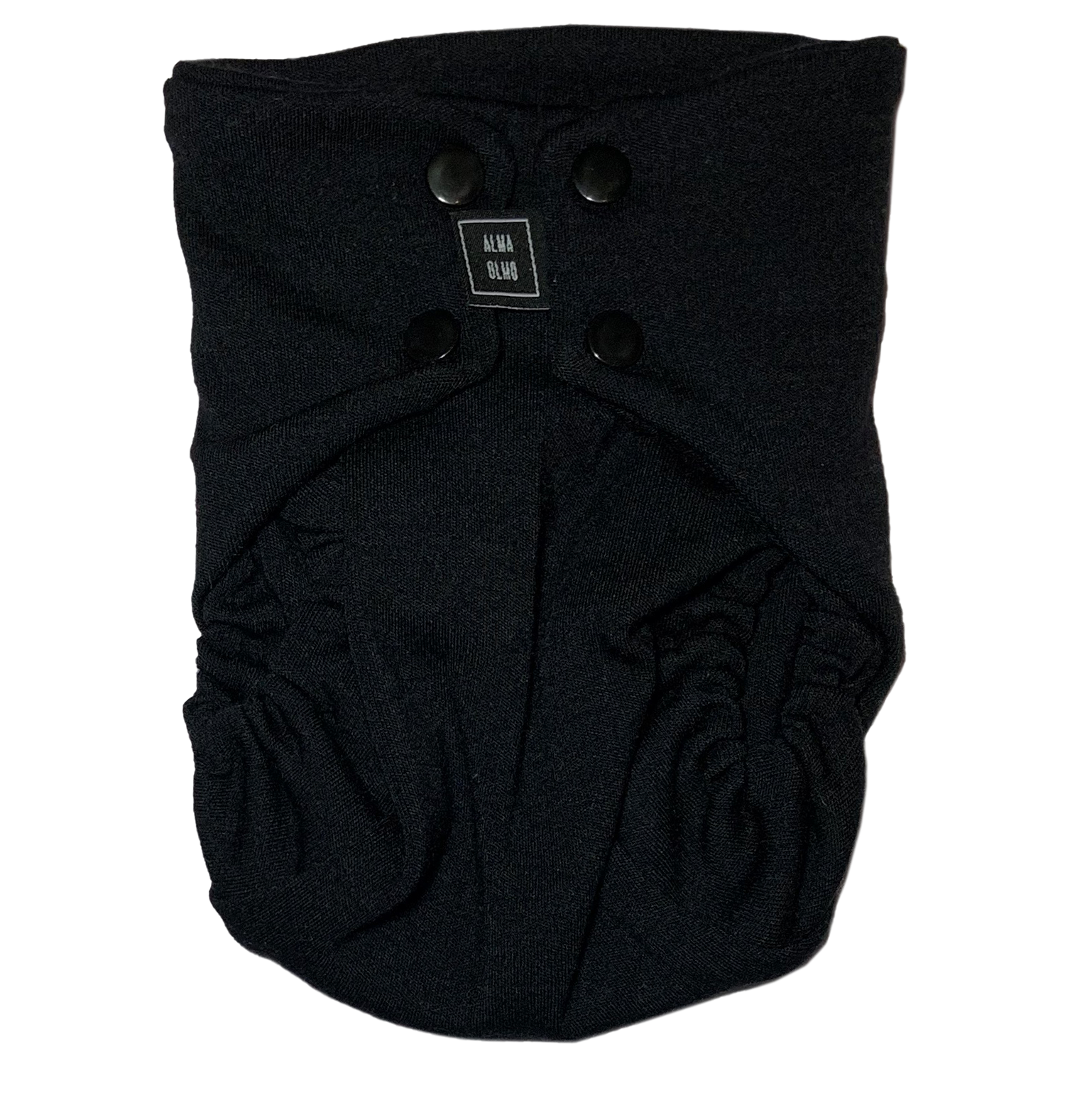 Black snap nappy. Picture taken from the front.