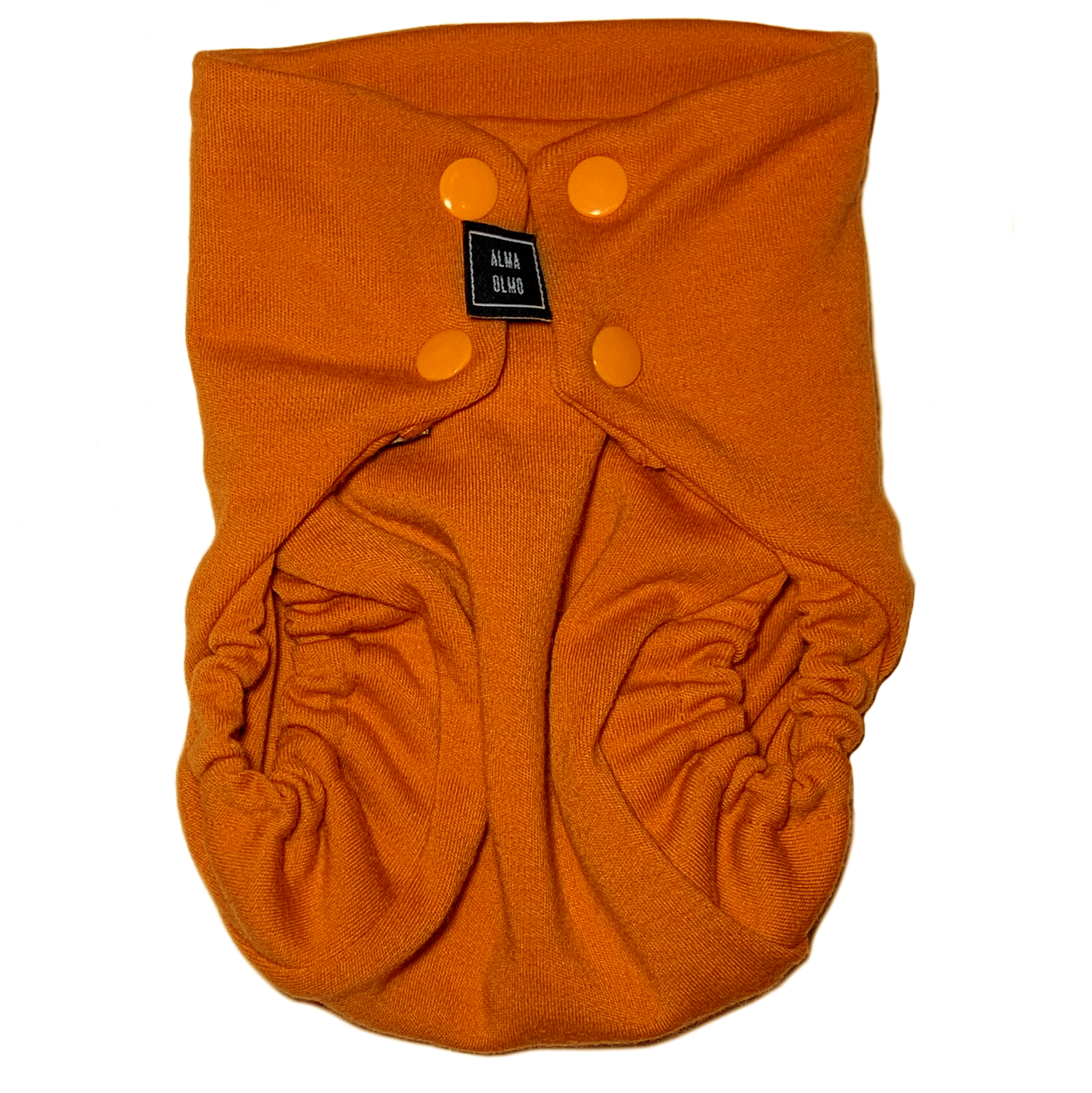 orange snap nappy picture taken from the front