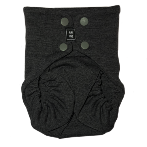 A dark grey snap nappy viewed from the front
