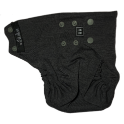 A dark grey snap nappy viewed from the side