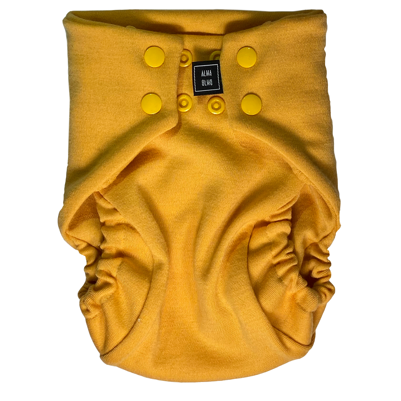 A yellow Snap nappy picture taken from the front